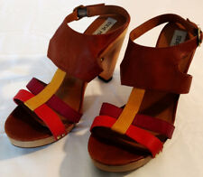 Steve Madden Sandals Heels Shoes Womens Sz 8 Leather Wood Sole Brown Orange Red