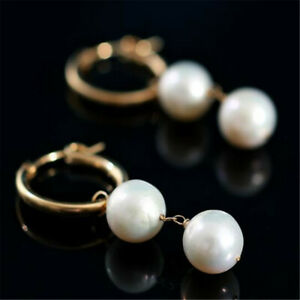 Fashion 10MM Shell pearl Earrings Dangle 18KGP Ms gift Cultured CARNIVAL Diy
