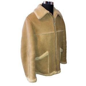 SAK'S Napa Tan Sheepskin Shearling Leather Jacket Coat Mens 46 Spring Lamb USA