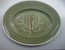 """One Susie Cooper Chinese Fern 16"""" Green oval serving plate hand painted"""