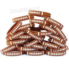 100 Wristbands with Football Design Debossed Color Filled Ball Pattern Bands
