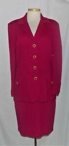 St John Dark Fuchsia Santana Knit Button Front Jacket & Pencil Skirt Suit 12/10