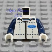 NEW Lego Ford Truck WHITE MINIFIG TORSO -Blue Plaid Shirt Race Car Driver Jacket