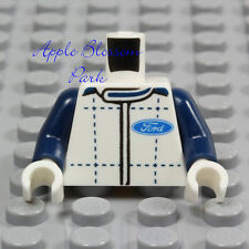 NEW Lego Ford Truck WHITE MINIFIG TORSO -Blue Plaid Shirt Race Car Driver Jacket