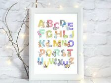 animal alphabet glossy Print poster a4 watercolour nursery wall art UNFRAMED
