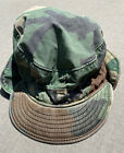 Vintage US Army Military Combat Field Cap Hat BDU Woodland Camo 7 Ear Flaps