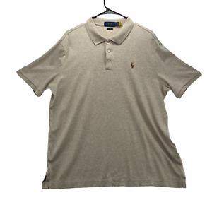 Ralph Lauren Classic Fit Men's Short Sleeved Polo Shirt Size Large Beige Cotton