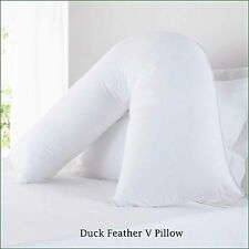 100% Duck Feather Down V Pillow Orthopedic Nursing Maternity Pregnancy with Case