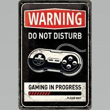 Warning Gaming in Progress Do Not Disturb Funny 3D Medium Metal Steel Wall Sign