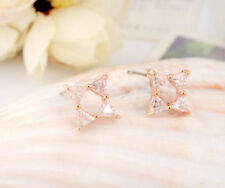 18K Rose Gold Filled Pretty Crystal Lab Diamond Cutting Stud Earrings Unique