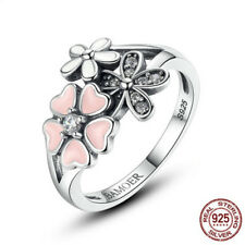 925 Silver Ring Daisy Flower Women Men White Topaz  Wedding Engagement Size 5-10