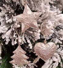 SET of 3 Rustic Antique Silver STAR HEART Hanging Christmas TREE Decoration