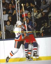 DAVE LANGEVIN Crushes RANGERS Player INTO BOARDS 8x10 Photo NEW YORK ISLANDERS
