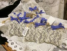 Hand Made Petite DRIED LAVENDER SACHETS Ivory Lace Bag - 6 pcs Fragrant Maine