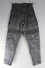 PROTO BLACK COWHIDE LEATHER BIKER TROUSERS SIZE 12: WAIST 28 IN/INSIDE LEG 29 IN