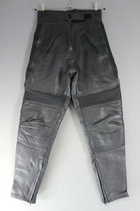 PROTO BLACK COWHIDE LEATHER BIKER TROUSERS SIZE 12: WAIST 28 IN/INSIDE LEG 29 IN