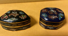 Two Vintage Asian Hinged Blue Multicolor Cloisonne Flower Pill Snuff Boxes