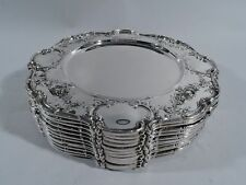 Gorham Plates - A6620 - 12 Antique Edwardian Chargers - American Sterling Silver