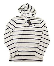 Polo Ralph Lauren Men's White/Navy Striped Long Sleeve Hooded T-Shirt