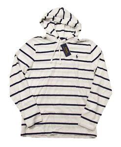 Polo Ralph Lauren Men's White/Navy Striped Long Sleeve Hooded T-Shirt