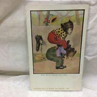 Vintage Postcard Illustrated Bears Playing Leap Frog Scene Austen Unused