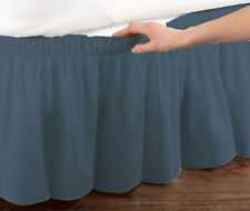 Blue Elastic Ruffled Bed Skirt: Wrap Around Easy Fit, Queen or King Sizes
