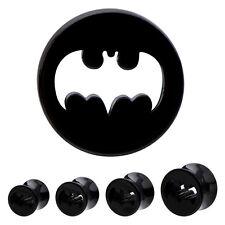 "PAIR-Batman DC Comics Acrylic Double Flare Plugs 16mm/5/8"" Gauge Tunnels Jewelry"