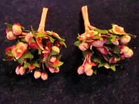 "Millinery Flower Doll Size 1/2"" Pink Red Lot 2 bnch  For Hat Wedding + Hair KD3"