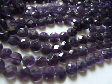 Amethyst. 10mm Faceted Coin. Approx. 16 inch Strand.