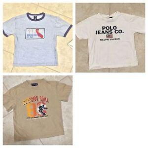 ☀️ Lot 3 Boys Tee Shirts Blue GAP Tan Children's Place White Ralph Lauren XS S 4