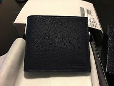 NWT Prada Grained Calf Leather Wallet Baltico Navy Blue 2MO513