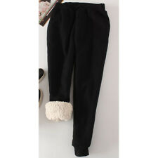 Womens Plain Fleece Pants Jogger Drawstring Two Pocket Thick Casual Trousers New