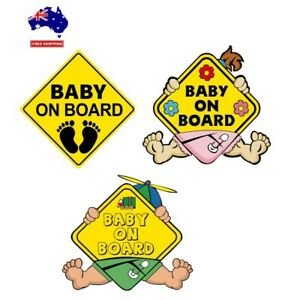2Pcs Baby On Board Car Safety Yellow Car Signs Kids Sticky Window Sign Decal AU