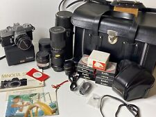 Minolta SRT-101 35MM Film Camera PF 58mm f/1.4 MC Lens & 85mm-205mm Lens Filters