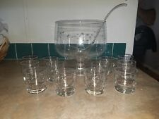 Princess House Heritage Crystal 14 pc Punch Bowl Set