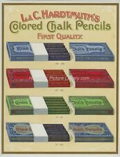 ORIGINAL HARDTMUTH'S CHALK PENCIL ADVERTISING c1918 CHROMO LITHO