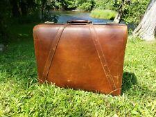 "Vintage PLATT Pilot 24"" Full Grain cowhide Leather Luggage Suitcase"