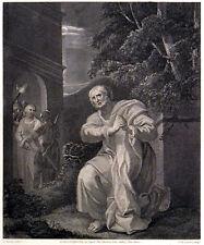 PETER'S REPENTANCE 1799 Jean Marie Delattre - Joseph Barney ANTIQUE ETCHING
