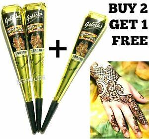 Organic Black Henna Mehandi Tattoo Cones Golecha Indian Natural Paste Cone x 1