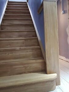 14 X  Right Side Curved  Bullnose Solid Oak Stair Cladding   -stained and lacq.