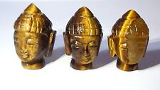 1 x Tigers Eye THAI BUDDHA HEAD Idol. Carved Gemstone Buddhist Spirituality  p1