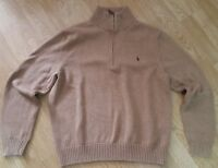 Polo Ralph Lauren Jumper Estate Rib Brown Heather Cotton Top Knitted Size L