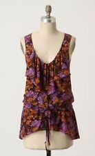 LIL Anthropologie Lightning Flower Tunic Size 4 Floral Print Silk Tank Blouse