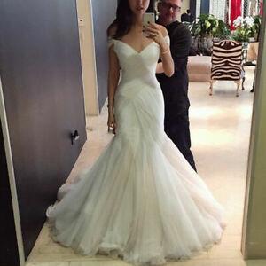 Off Shoulder Wedding Dresses White Ivory V-Neck Mermaid Full Length Bridal Gowns