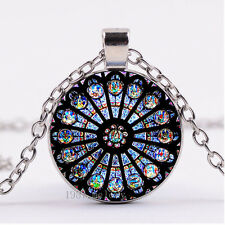NEW Cabochon Glass necklace Silver woman pendants(wiki-sacred-geometry