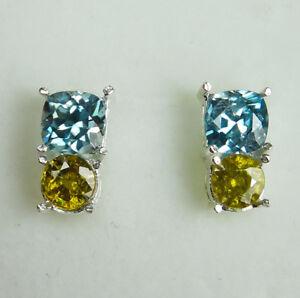 Natural Paraiba Blue Zircon & Sphene 925 Silver 9ct 14k 18k Gold stud earrings