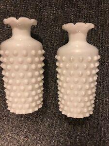 """2 Hobnail Bud Vases White Milk Glass Vintage Imperial Glass 6 1/4"""" tall"""