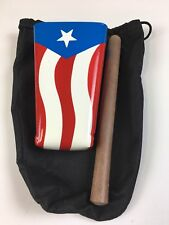 Hand Held Cowbell Chrome Painted With Puerto Rico Flag, Includes Pouch And Stick