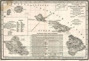 A4 Reprint of Old Maps 18930 Topographical Hawaiian Linton & Garrigues