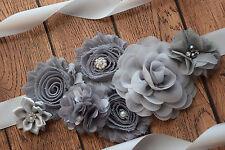 Flower Sash, grey sash , flower Belt, maternity sash, wedding sash